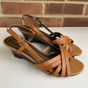 Natural Sole Penman leather wedge sandals